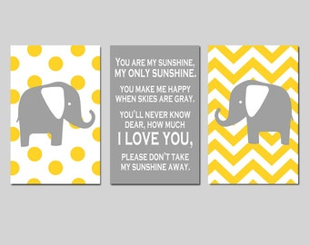 Elephant Nursery Art Trio - Set of Three 11x17 Prints - You Are My Sunshine - Polka Dot and Chevron - CHOOSE YOUR COLORS - Yellow, Gray