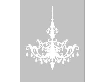 Modern Chandelier Silhouette - 5x7 Print - Bathroom, Nursery, Kitchen, Bedroom Decor - CHOOSE YOUR COLORS