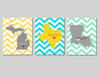 Personalized Chevron Love State Map 11x14 Custom Print - Wedding Poster, Guestbook, Anniversary Gift, Engagement - GREAT WEDDING GIFT