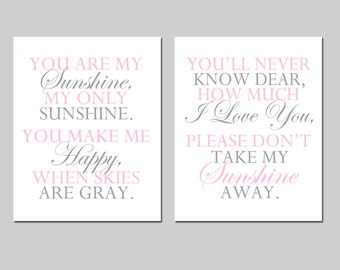You Are My Sunshine Nursery Art Set - Nursery Quote Decor - Set of Two 8x10 Prints - CHOOSE YOUR COLORS - Shown in Light Pink and Gray