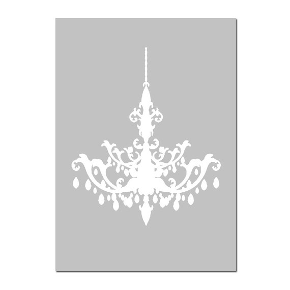 Modern Chandelier Silhouette - 5x7 Print - Bathroom, Nursery, Kitchen, Bedroom Decor - CHOOSE YOUR COLORS