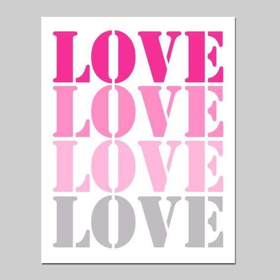 LOVE STENCIL - 8x10 Nursery Art Print - Kids Wall Art - Choose Your Colors