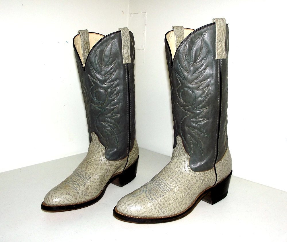 two tone grey cowboy boots acme brand size 9 d or womens