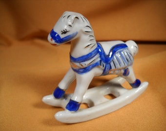 MINIATURE ROCKING HORSE made of porclain and hand painted