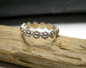 sterling silver floral stacking ring. Engagement Ring. Elvish jewelry