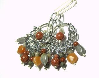 Orange Chandelier Earrings ,Bohemian Jewelry ,Gypsy Style Earrings, Tribal Earrings , Ethic Jewelry