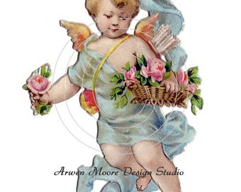 Vintage Victorian Chic Shabby Cherub Angel Blue With Roses Baskets Waterslide Water Slide Decals Miniatura - va-76