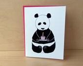 Panda Bear with Cupcake - Birthday Card