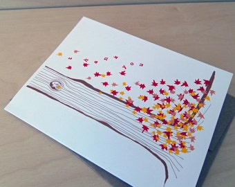 Leaf Pile  Thank You cards - set of 8 cards