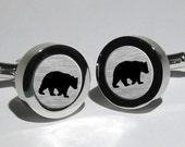 Mens Bear Silver Leaf Cufflinks/Grizzly Bear Cufflinks/Cufflinks for men/Grooms Gift/Wildlife Cufflinks/Hunter Cufflinks