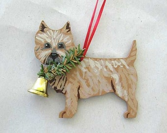 Hand-Painted CAIRN TERRIER BROWN Wood Christmas Ornament...Artist Original, Christmas Tree Ornament Decoration