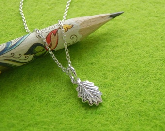 Tiny Salad Burnet Leaf Jewelry - Pure Silver Real Leaf Pendant, Thin Sterling Silver Chain, Herb Jewelry