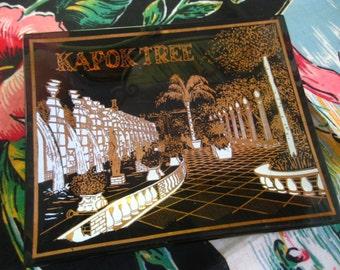 Vintage Kapok Tree Restaurant Florida ashtray - black and gold glass ash tray - Clearwater Florida