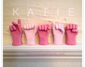 Five American Sign Language Hands - Any Custom 5 Letter Name or Word - ASL Art Gift - Unique Home Decor - Educational Tool - You Pick Color