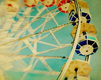 BUY 2 GET 1 FREE Carnival Photo, Carnival Ride, Ferris Wheel, Blue, Sky, Dreamy, Pastels, Nursery Decor, Yellow, Toronto - Blue Wheel