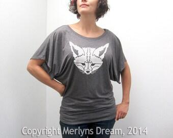 Fox T Shirt Women's Slouchy Modern Maroon Short Sleeve Top
