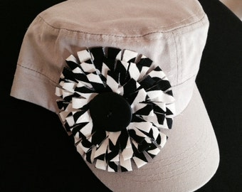 Embellished Hat Cadet Ladies Military Hat Handmade Fabric Flower Trendy