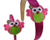 "Funny Girl Matching 18"" Doll & Girls Felt Owl Headband Set"