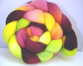 Roving, Spinning, fiber, Combed Top, Romney Wool, Hand dyed in Tootie Fruitie , 4 oz Braid,  pink. cherry, orange, yellow green