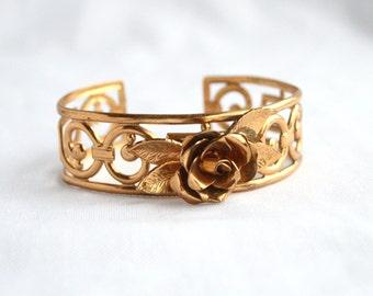 Gold Filigree Flower Bracelet Vintage Coro Cuff Goldtone Openwork