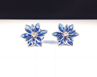 Sapphire Blue Lotus Flower Rhinestone Crystal Earring Vintage Inspired