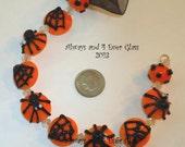 Halloween Spiders Handmade Glass Lampwork Beads