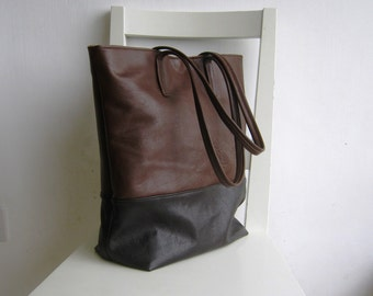 Two Tones Brown Leather Tote Shoulder Bag