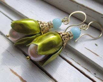 Mona Dangle earrings, Women of Mad Men series, 14k gold ear wires