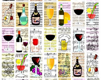 alcoholic beverages wine beer cocktails sheet music digital download collage 1 BY 2 INCH