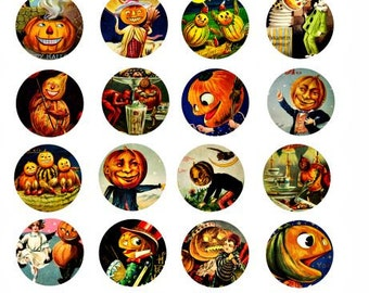 Halloween pumpkin head people clipart jacko lantern digital download 1.5 inch circles collage sheet graphics images