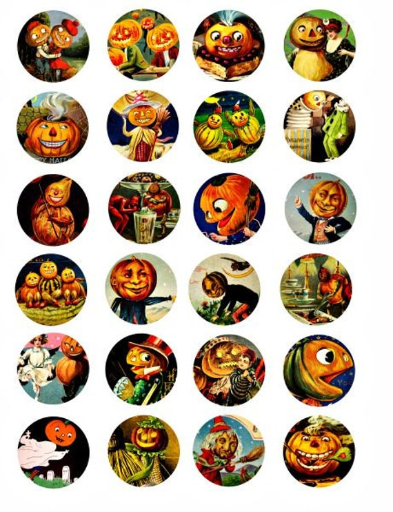 Halloween pumpkin head clipart jacko lantern digital download 1.5 inch circles collage sheet graphics images DIY crafts