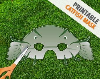 Catfish Mask | Green Fish Mask | Photo Prop | Printable Party Mask