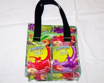 Etsy Fun Eco Friendly Lunch Bag made with Recycled Capri Sun bags Upcycled repurposed