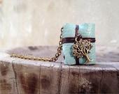 S. A. L. E 50% MiniatureBook Necklace Tree & mint Blue leather