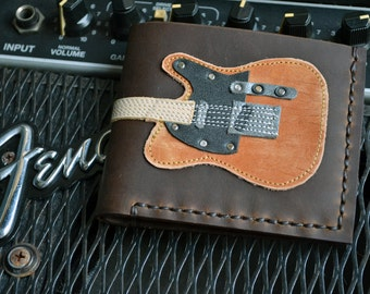 Free!! initials stamp Hand Stitch Men Wallet Fender Telecaster Vintage Colored Wood
