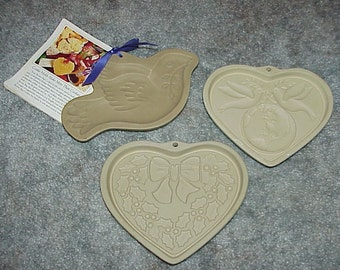 3 Stoneware Cookie Molds Pampered Chef And Brown Bag