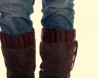 Boot cuff, boot topper, wool, brown,