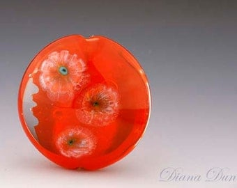 Lampwork Glass Focal Bead Juicy Orange SRA