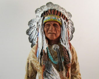 Vintage Sioux Chief by Daniel Monfort 1986 Collectible Figurine Great Father's Day Gift
