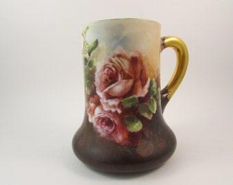 Vintage Limoges Porcelain Mug Hand Painted Roses Shades of Pink Antique Limoges Mug Made in France Early 1900s