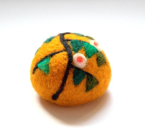 Easter  Felted wool pincushion ball G.Klimt (Tree of Life) art collection orange Birthday modern Easter home decor gift lavender sachet