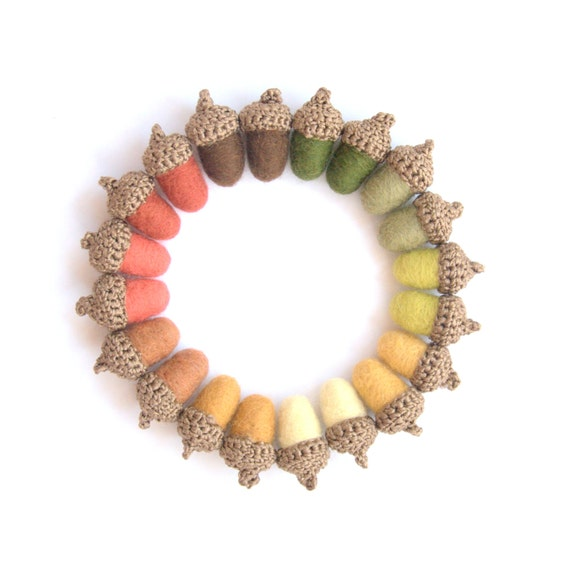 10 felted wool Acorns autumn fall Weddings favor country decorations woodland nursery yellow orange brown garland