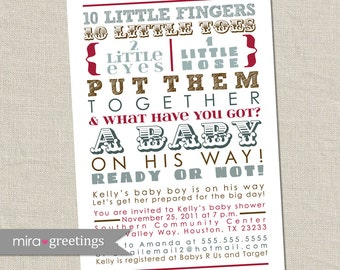 Baby Boy Poem Invitation - 10 little fingers - blue red brown baby shower invites - subway art baby shower (printable digital file)