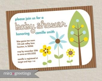 Forest Flowers Baby Shower Invitations - flower tree gender neutral unisex co-ed -  woodland shower (Printable Digital File)