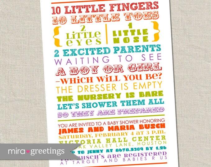 Rainbow Gender Reveal Baby Shower Invitation - Printable Digital File