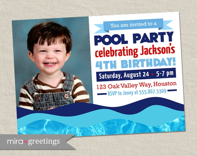 Pool Party Invitation -  Birthday Party Invite - Nautical Sailor Style (Printable Digital File OR Printed Cards - see Policies)