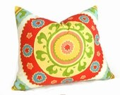 Colorful Suzani Pillow Shams, Large Medallion, Suzani Cushion Covers, Red Yellow Blue White, Eclectic, Boho, 26, 28 inches