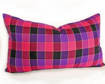 Pink Purple Plaid Pillows, Pink Check Pillow Cover, Raspberry Red Pillows, Girls Accent Cushion Cover, Rectangle 12x18, Dorm Decor
