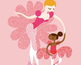 "8X10"" ballerina mother and daughter giclee print on fine art paper. pink, fuchsia, blonde, mocha. adoption/multicultural african american."