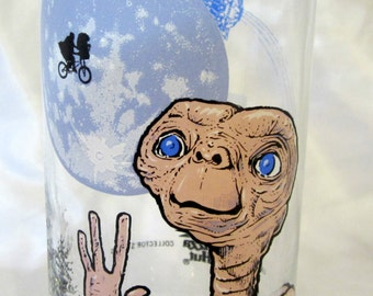 ET The Extra Terrestrial Phone Home 1982 Pizza Hut Collector Glass Tumbler Vintage Collectible Universal City Studios